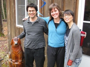 Trio Tritticali with Doug, the mascot of Trick Dog Recording